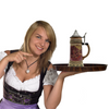 1 Liter German Village Dancers Beer Stein with Metal Lid