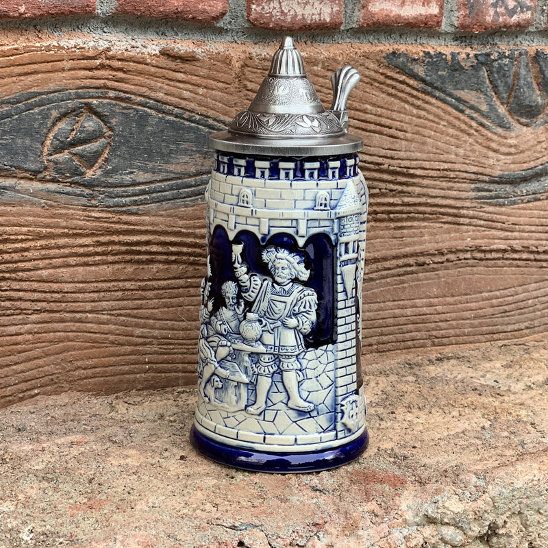 Castle Festivity Cobalt Blue Beer Stein with Metal Lid