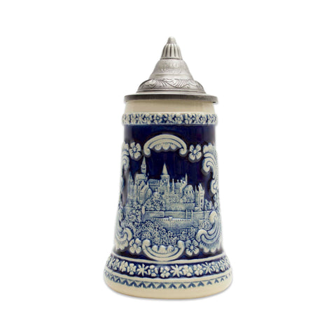 German Castle Engraved Ceramic Beer Stein with Ornate Metal Lid