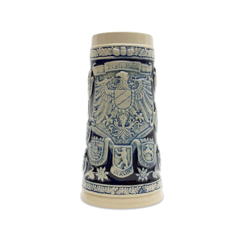 Cobalt Blue Germany Coats of Arms Engraved Beer Stein