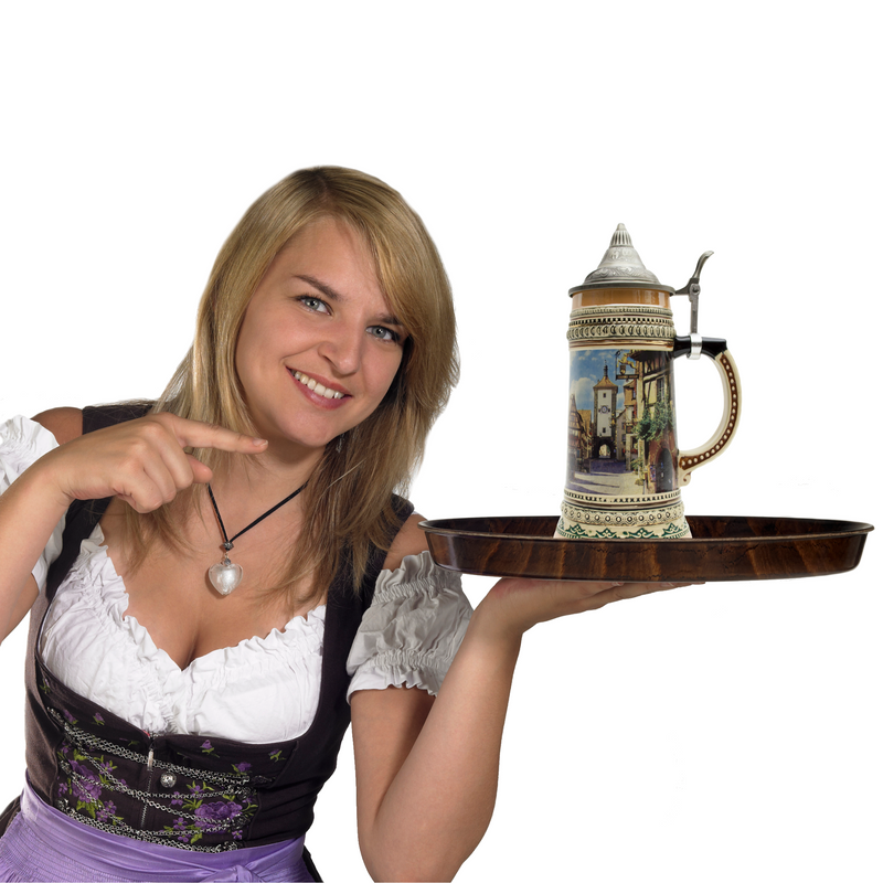 1 Liter German Village Street Scene Beer Stein with Metal Lid