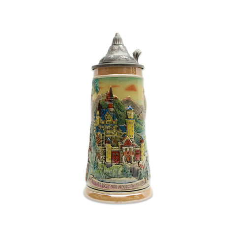 Ludwig's Castle Mountain Scene Engraved Beer Stein with Metal Lid