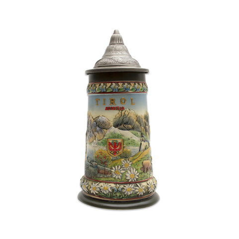 Tirol Scenic Austrian Alps Collectible Beer Stein with Engraved Metal Lid