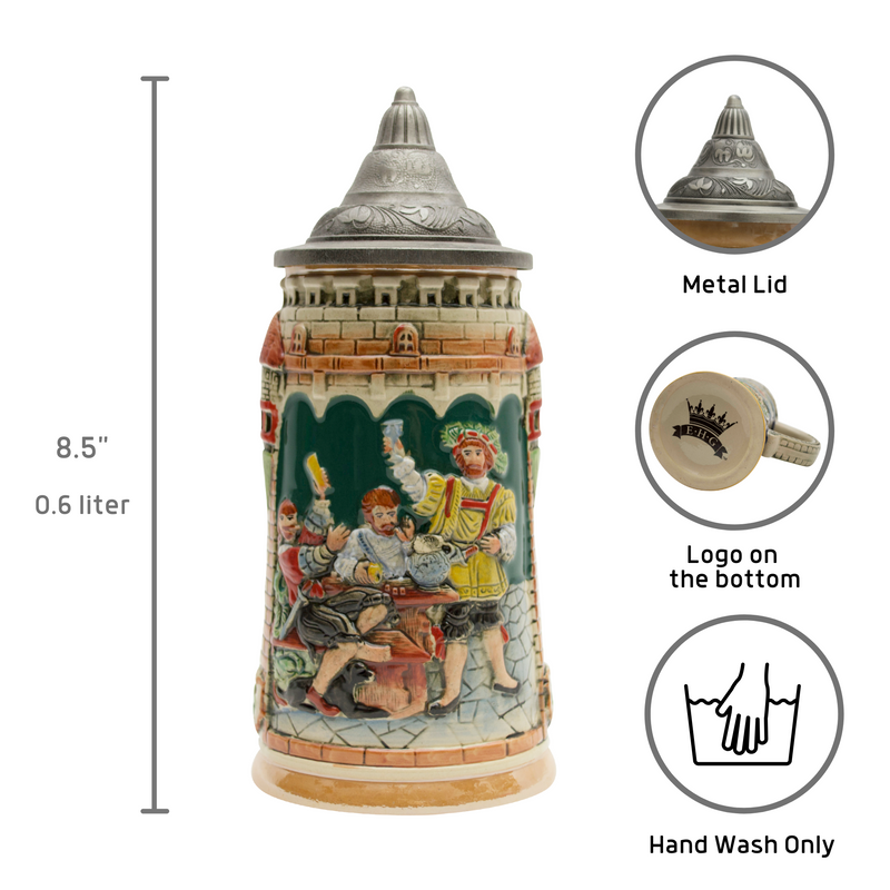 Castle Festival Engraved Beer Stein with Metal Lid