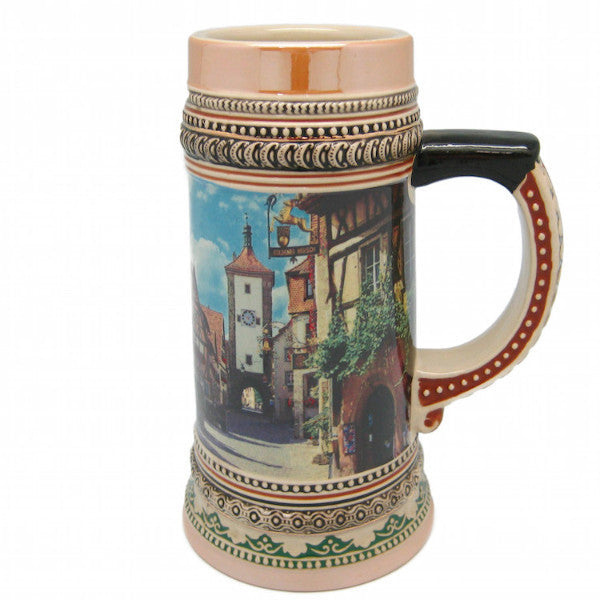 Ceramic Beer Stein Rothenburg Village Scene - .18L, .475L, 1.5L, 1L, 2.25L, Alcohol, Barware, Beer Glasses, Beer Stein-No Lid, Beer Stein-No Lid-EHG, Beer Steins, Ceramics, Coffee Mugs, Collectibles, Decorations, Drinkware, Euro Village, European, German, Germany, Home & Garden, Multi-Color, PS-Party Favors, Shot Glasses, Shots-Ceramic, Top-GRMN-B, Volume