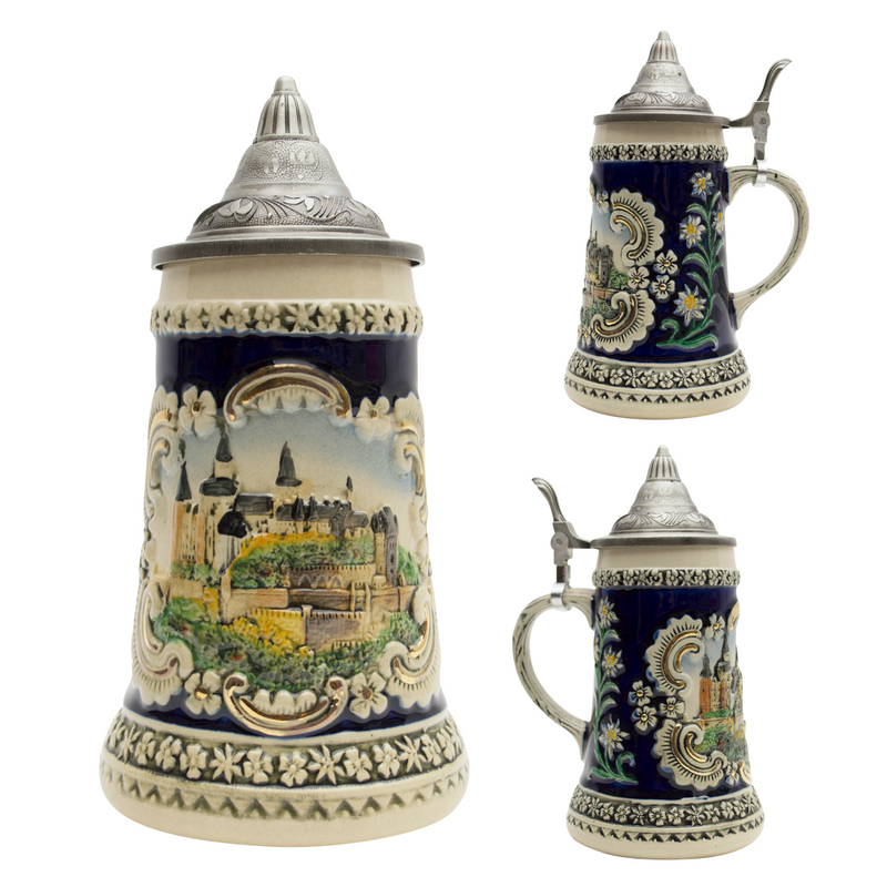 Scenic Bavarian Castle Engraved Beer Stein with Metal Lid