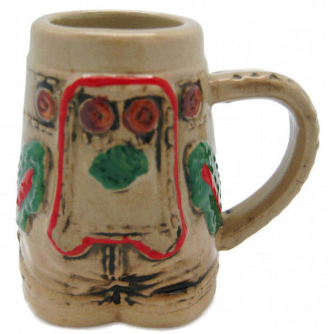 German Lederhosen Ceramic Beer Stein Shot Glass
