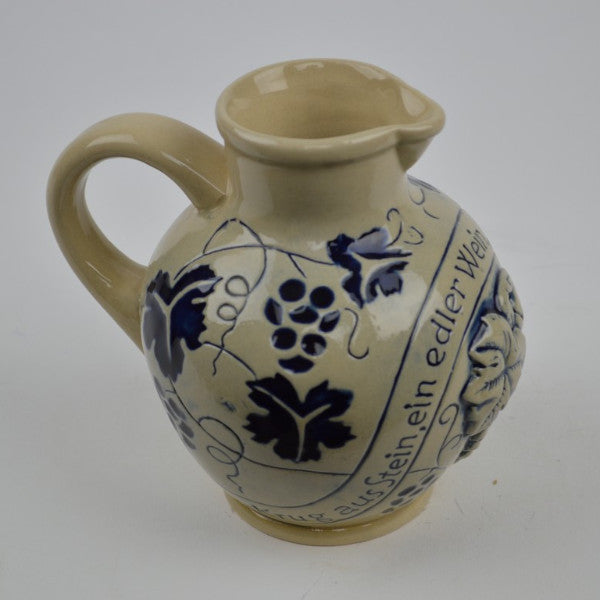 Ceramic German Wine Pitcher - Alcohol, Beer Stein-No Lid, Beer Stein-No Lid-EHG, Beer Stein-Stoneware, Beer Steins, Blue, Euro Village, German, Germany - 2 - 3 - 4
