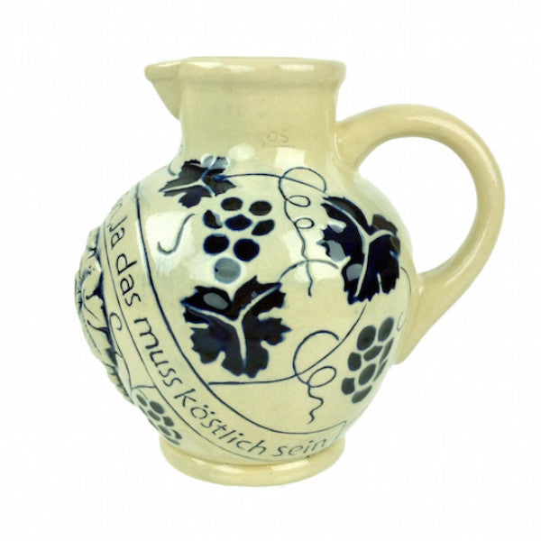 Ceramic German Wine Pitcher - Alcohol, Beer Stein-No Lid, Beer Stein-No Lid-EHG, Beer Stein-Stoneware, Beer Steins, Blue, Euro Village, German, Germany