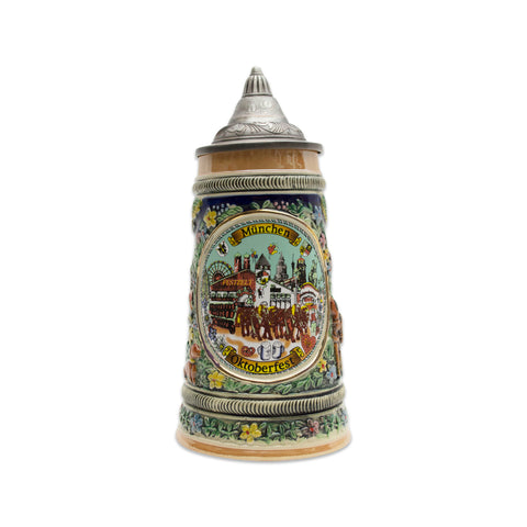Collectible Oktoberfest Deluxe Beer Stein with Engraved Metal Lid