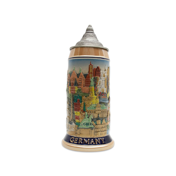 Landmarks Across Germany 1L Colorful Lidded Stein