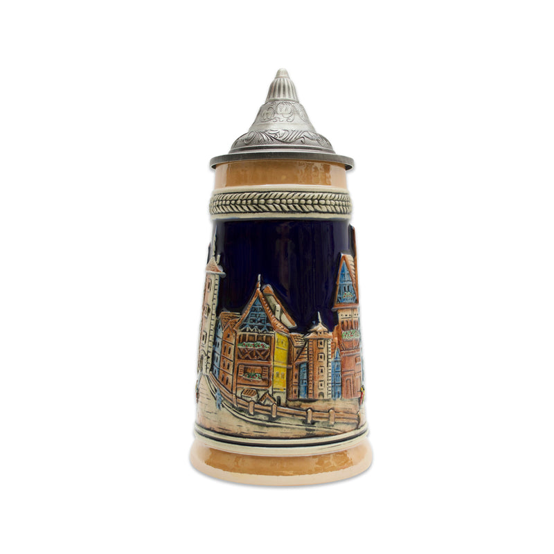German Village Street Scene .75L Lidded Stein