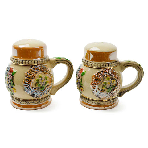 Alpine Flowers Engraved Beer Stein Salt And Pepper Set