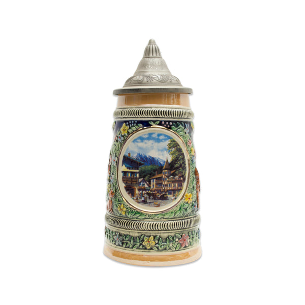 Summer in Germany Beer Stein .5 Liter with Metal Lid