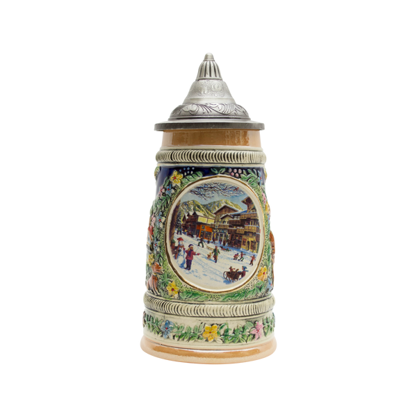 Winter in Germany Beer Stein .5 Liter with Metal Lid