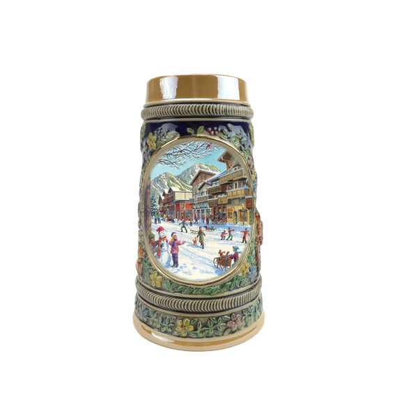Winter in Germany Beer Stein .5 Liter Embossed Ceramic
