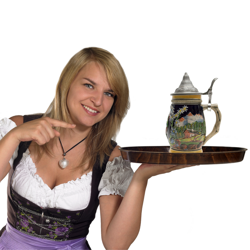 "Engraved German ""Bier Fest"" Stein with Engraved Metal Lid"