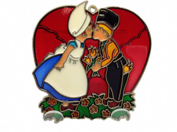 Red Heart Shaped Kissing Couple Sun catcher