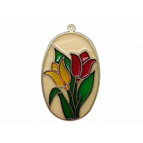 Red and Yellow Tulips Clear Oval Sun Catcher