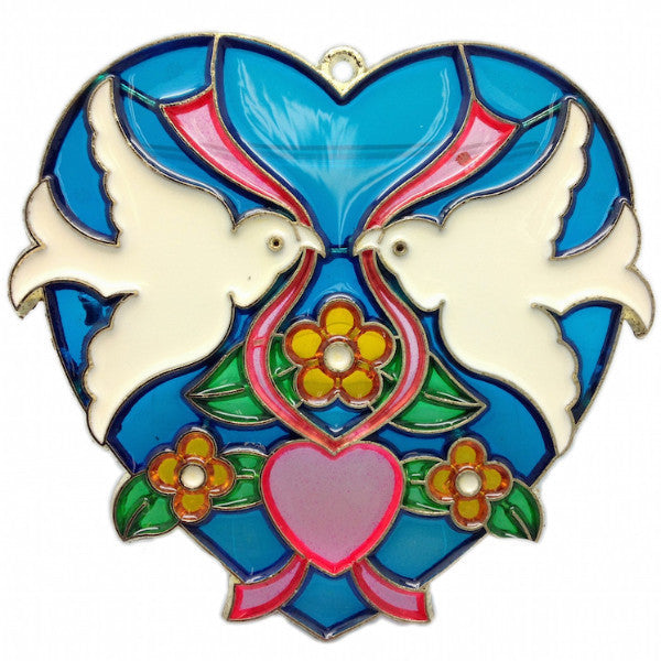 Blue Kissing Lovebirds Heart Shaped Sun Catcher