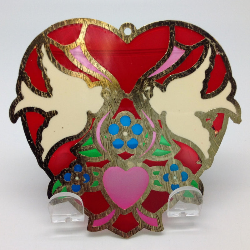 Red Heart Shaped Kissing Lovebirds Sun Catcher - Blue, Collectibles, Decorations, General Gift, Heart, Home & Garden, Kissing Couple, Red, Sun Catchers - 2