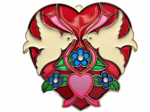Red Heart Shaped Kissing Lovebirds Sun Catcher
