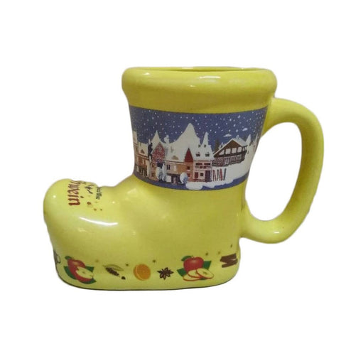 Ceramic Yellow Gluhwein Boot Mug
