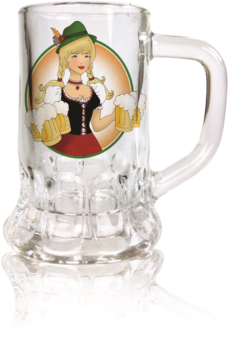 Ofest Lady Dimpled Oktoberfest Mug Shot Glass - German, Glass, New Products, NP Upload, Ofest Lady, PS- Oktoberfest Party Favors, PS-Party Favors German, Under $10, Yr-2015