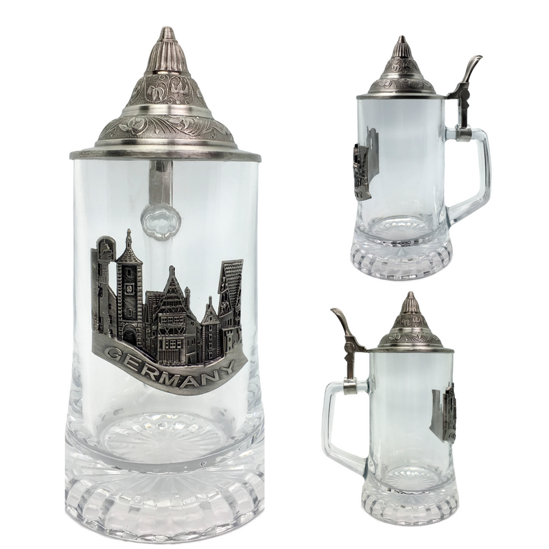 .5L Village Medallion Lidded Glass Mug