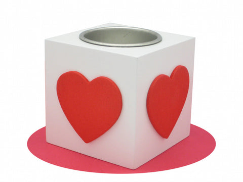 German Gift Idea Square Heart Votive Red