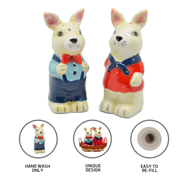 Animal Salt & Pepper Shakers Rabbits Basket