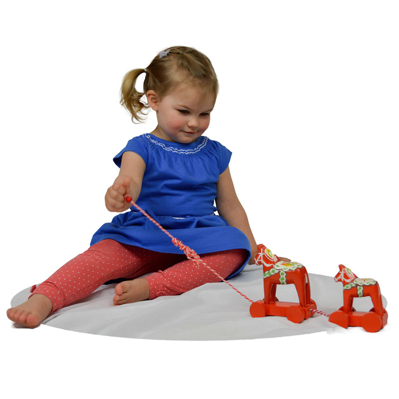 Swedish Horse Themed Pull Toy With Two Dala Horses -2