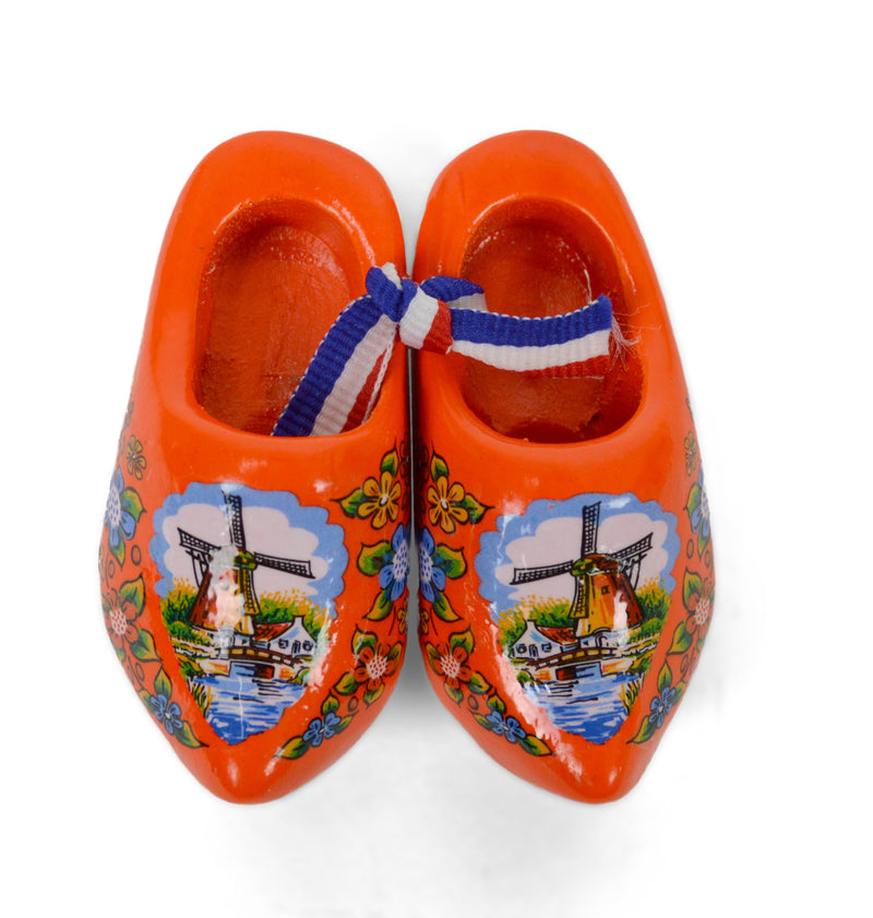 Orange Windmill Wooden Shoes - Apparel-Costume Shoes, Apparel-Costumes, CT-600, Dutch, Ethnic Dolls, New Products, NP Upload, Orange, PS-Party Favors Dutch, Shoes, Small, Top-DTCH-B, Under $10, Windmills, Wooden Shoes, Yr-2016
