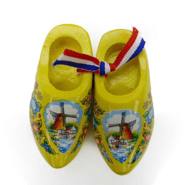Dutch Wooden Shoes Deluxe Yellow - 1.5 inches, 2.5 inches, Apparel-Costume Shoes, Apparel-Costumes, CT-600, Dutch, Ethnic Dolls, Netherlands, PS-Party Favors, PS-Party Favors Dutch, Shoes, Size, Top-DTCH-B, Tulips, Windmills, wood, Wooden Shoes, Wooden Shoes-Souvenir, Yellow