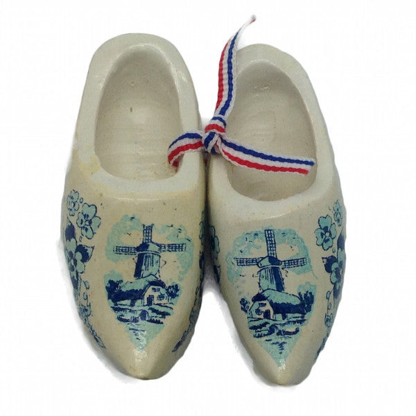 Dutch Wooden Shoes Clogs White - 2 inches Blue, Apparel-Costume Shoes, Apparel-Costumes, CT-600, Delft Blue, Dutch, Ethnic Dolls, Multi-Color, Netherlands, PS-Party Favors, PS-Party Favors Dutch, Shoes, White, Windmills, wood, Wooden Shoes, Wooden Shoes-Souvenir