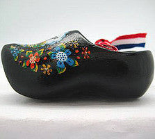 Dutch Wooden Shoes Deluxe Black - 1.5 inches, 2.5 inches, Apparel-Costume Shoes, Apparel-Costumes, black, CT-600, Dutch, Ethnic Dolls, Netherlands, PS-Party Favors, PS-Party Favors Dutch, Shoes, Size, Top-DTCH-B, Tulips, Windmills, wood, Wooden Shoes, Wooden Shoes-Souvenir - 2