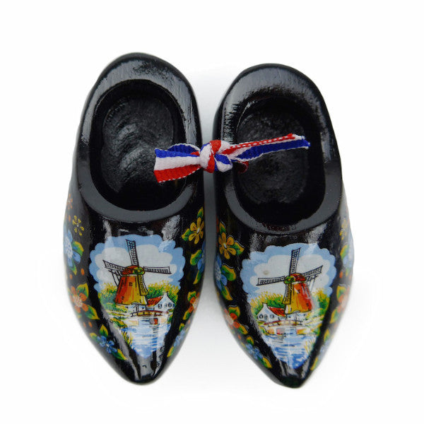 Dutch Wooden Shoes Deluxe Black - 1.5 inches, 2.5 inches, Apparel-Costume Shoes, Apparel-Costumes, black, CT-600, Dutch, Ethnic Dolls, Netherlands, PS-Party Favors, PS-Party Favors Dutch, Shoes, Size, Top-DTCH-B, Tulips, Windmills, wood, Wooden Shoes, Wooden Shoes-Souvenir