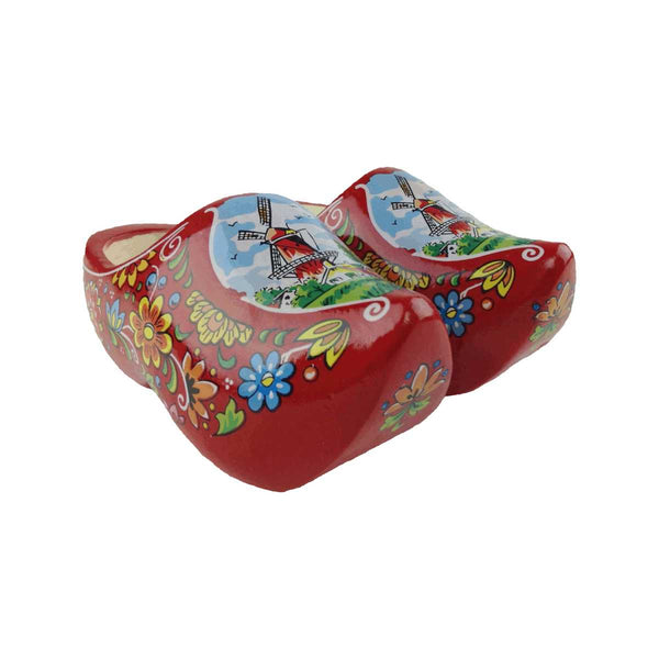 Decorative Dutch Shoe Clogs w/ Windmill Design Red- 4.25