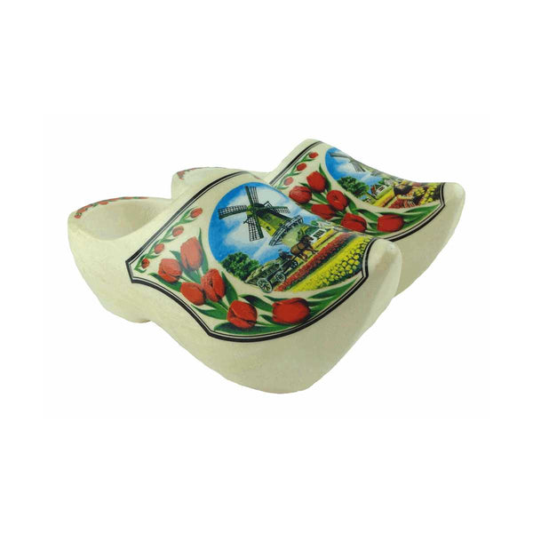 Decorative Dutch Shoe Clogs w/ Windmill and Tulips Design-4.25