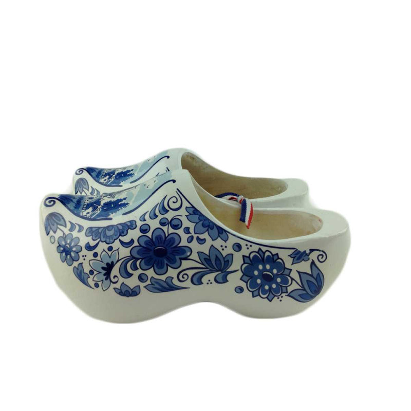 Decorative Dutch Shoe Clogs w/ Windmill Blue and White Design-6.5""