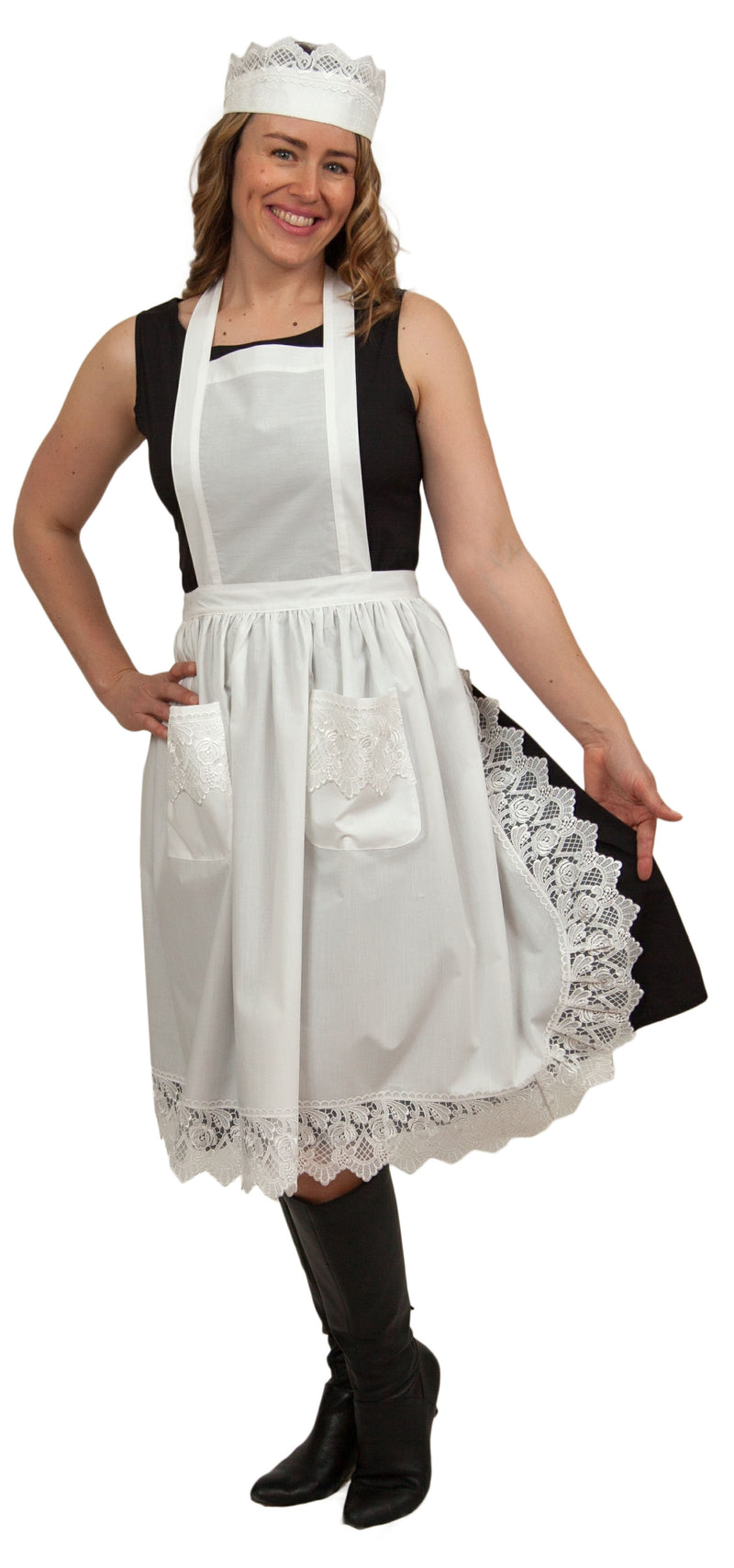 Maid Costume inches White Lace Headband & Adult Full Lace Apron Costume - Apparel- Aprons, Apparel-Kitchenware, CT-700, Hats, Lace
