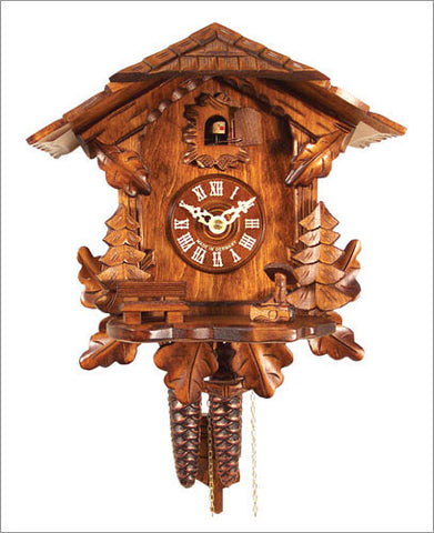 German Black Forest 1-Day Cuckoo Clock with Leaves and Trees