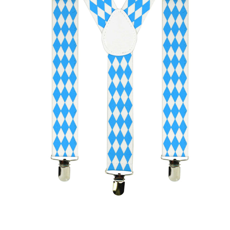 Bavarian Themed Blue Check German Suspenders - Apparel-Suspenders, Below $10, Blue/White, Mens, Oktoberfest, One Size, Polyester, Top-OFST-B