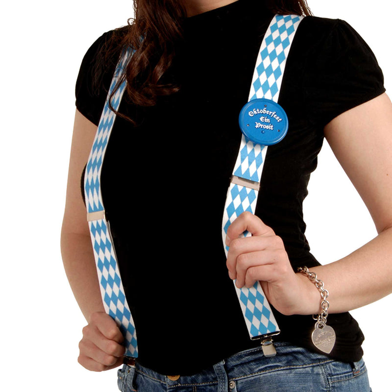 Bavarian Themed Blue Check German Suspenders - Apparel-Suspenders, Below $10, Blue/White, Mens, Oktoberfest, One Size, Polyester, Top-OFST-B - 2