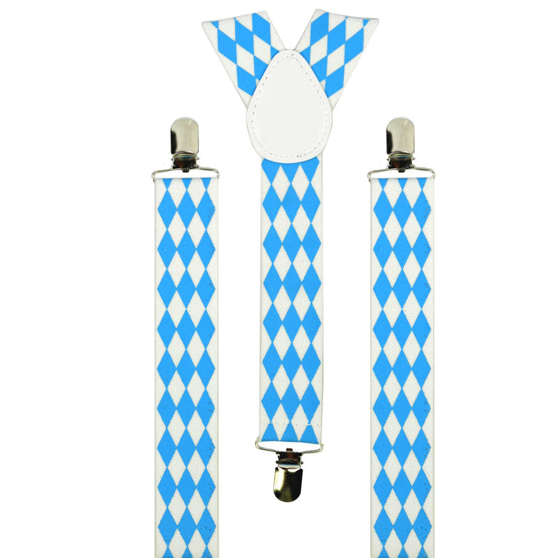 Bavarian Themed Blue Check German Suspenders - Apparel-Suspenders, Below $10, Blue/White, Mens, Oktoberfest, One Size, Polyester, Top-OFST-B - 2 - 3