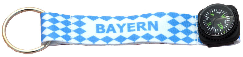 Bavarian Check Compass Oktoberfest Keychain - Bavarian Blue White Checkers, Bayern, Below $10, Collectibles, Home & Garden, Metal, One Size, PS- Oktoberfest Essentials-All OKT Items, PS- Oktoberfest Table Decor, PS-Party Favors, Tableware