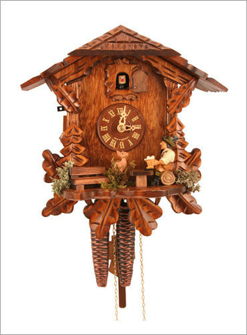 Black Forest 1 day Chalet Style Cuckoo Clock with Beer Drinker