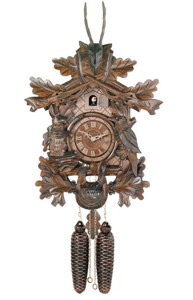 Eight Day Hunter's Cuckoo Clock with Hand-carved Oak Leaves, Animals, Rifles, and Buck-20 Inches Tall