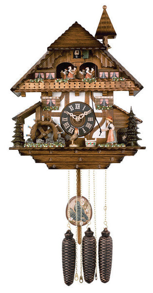 River City Clocks Eight Day Musical Cuckoo Clock with Woman Ringing Bell and Waterwheel