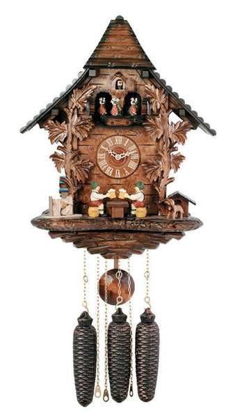 River City Clocks Eight Day Musical Cuckoo Clock with Beer Drinkers Raising Mugs